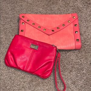 Coral clutch and red wristlet